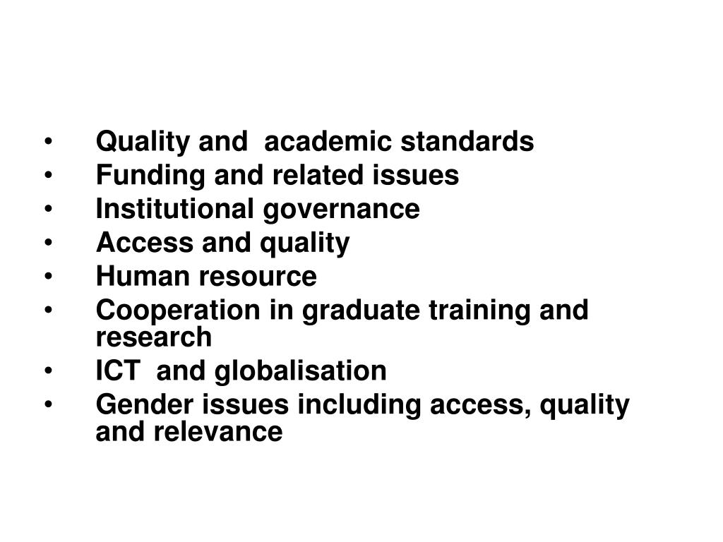 Quality and  academic standards