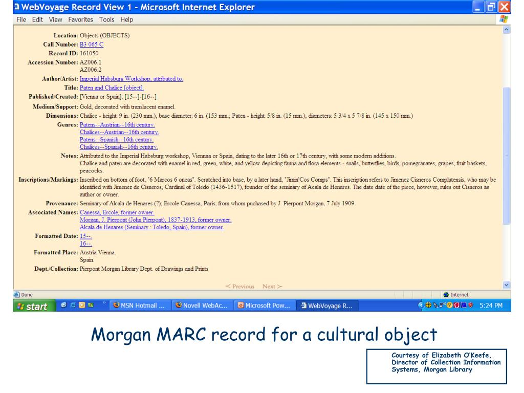 Morgan MARC record for a cultural object