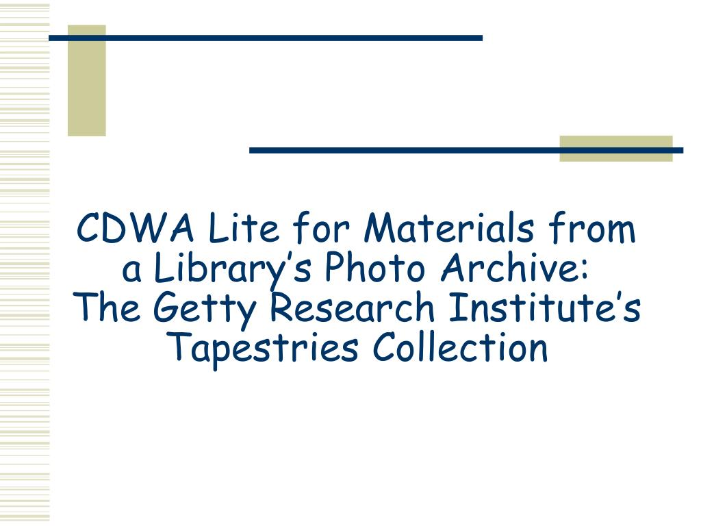 CDWA Lite for Materials from a Library's Photo Archive: