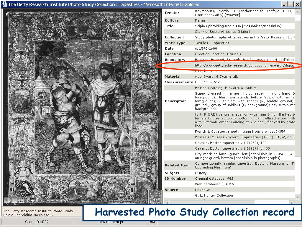 Harvested Photo Study Collection record