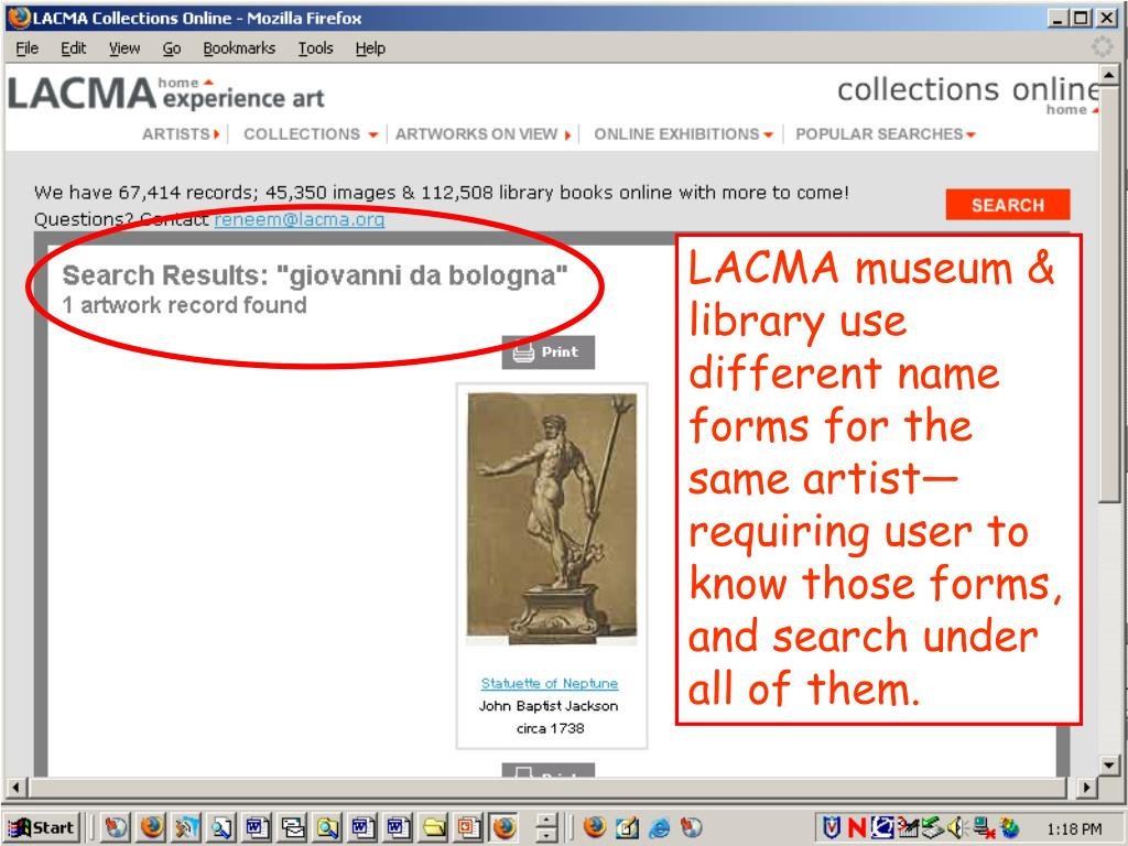 LACMA museum & library use different name forms for the same artist—requiring user to know those forms, and search under all of them.