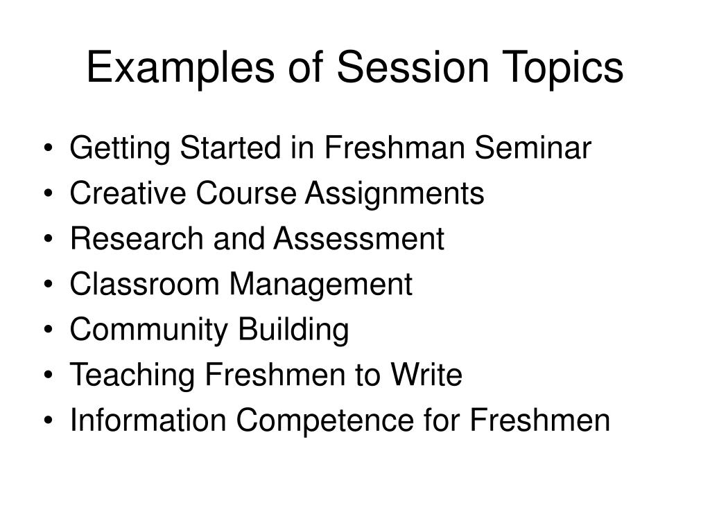Examples of Session Topics