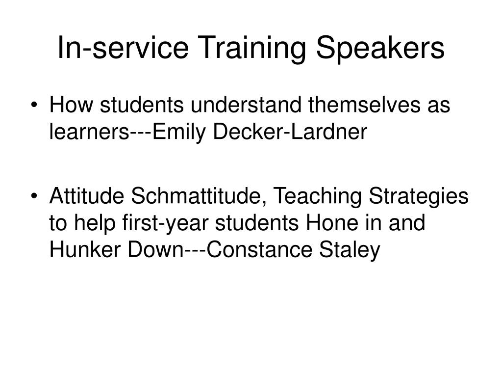 In-service Training Speakers
