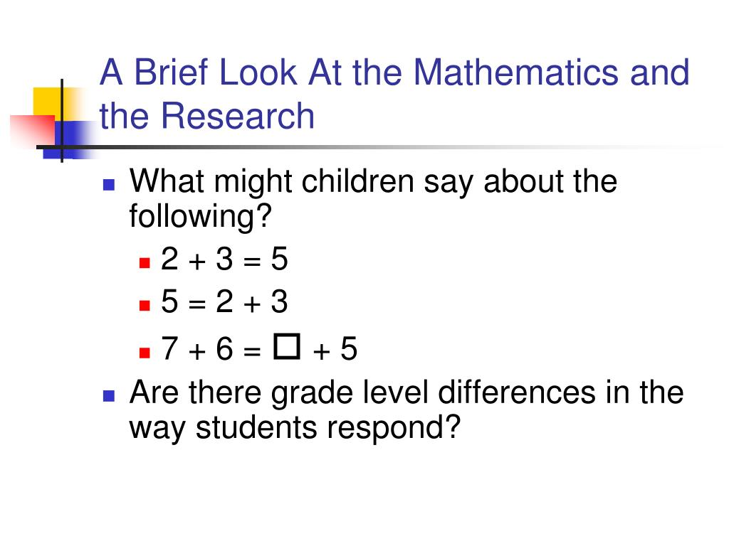 A Brief Look At the Mathematics and the Research