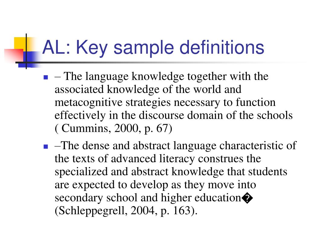 AL: Key sample definitions