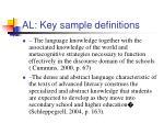 al key sample definitions