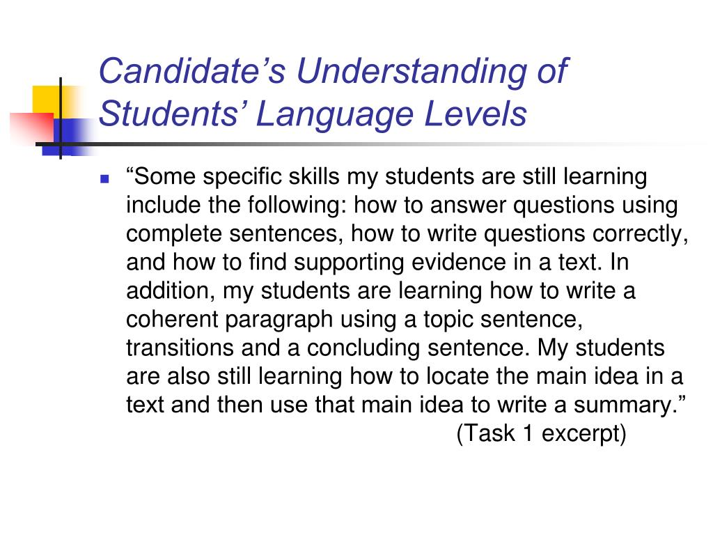 Candidate's Understanding of Students' Language Levels