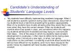 candidate s understanding of students language levels12