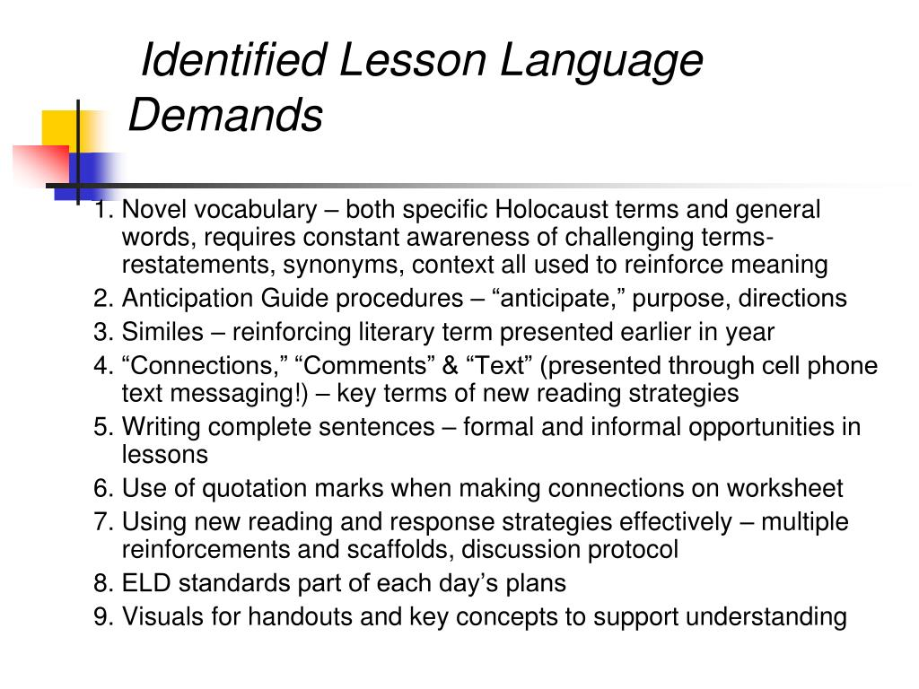 Identified Lesson Language Demands