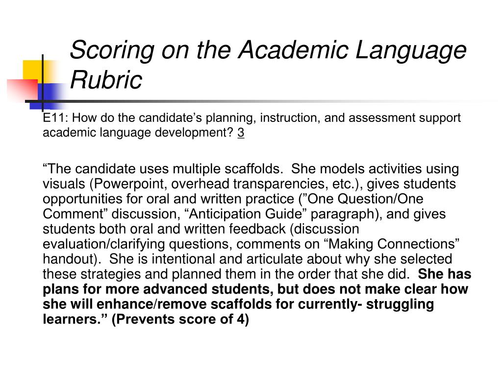 Scoring on the Academic Language Rubric
