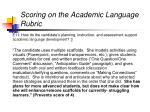 scoring on the academic language rubric18
