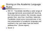 scoring on the academic language rubric29