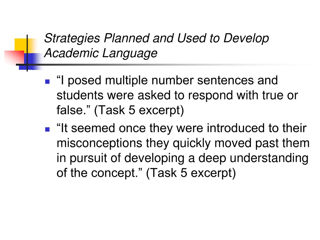 Strategies Planned and Used to Develop Academic Language