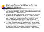 strategies planned and used to develop academic language28