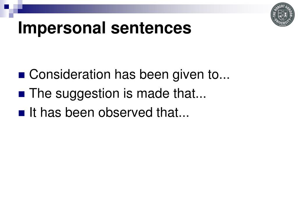 Impersonal sentences
