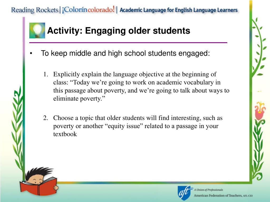 Activity: Engaging older students