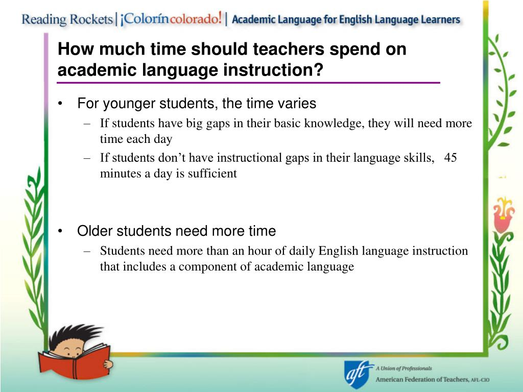 How much time should teachers spend on academic language instruction?