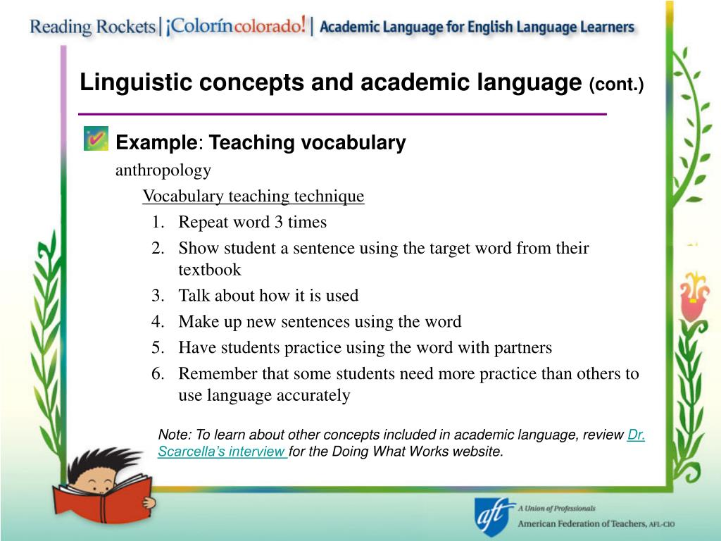 Linguistic concepts and academic language