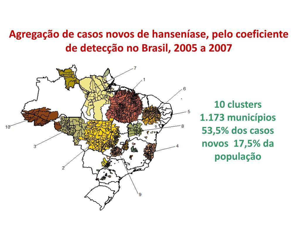 Agregação de casos novos de hanseníase, pelo coeficiente de detecção no Brasil, 2005 a 2007