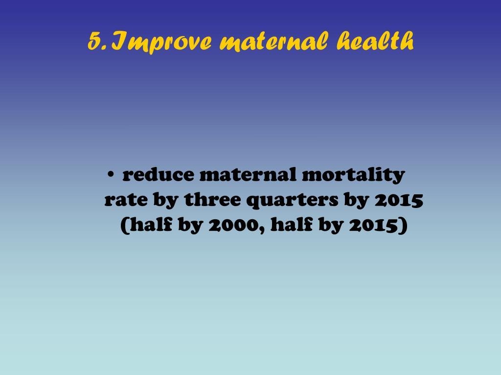 5. Improve maternal health