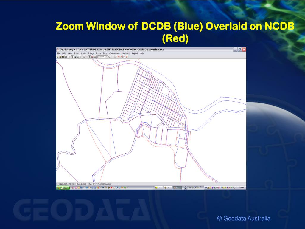 Zoom Window of DCDB (Blue) Overlaid on NCDB (Red)