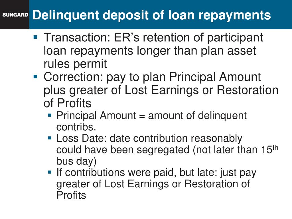 Delinquent deposit of loan repayments