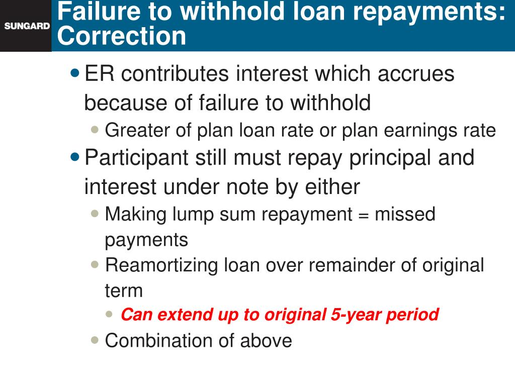 Failure to withhold loan repayments:  Correction