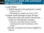 participant s death with participant loan outstanding