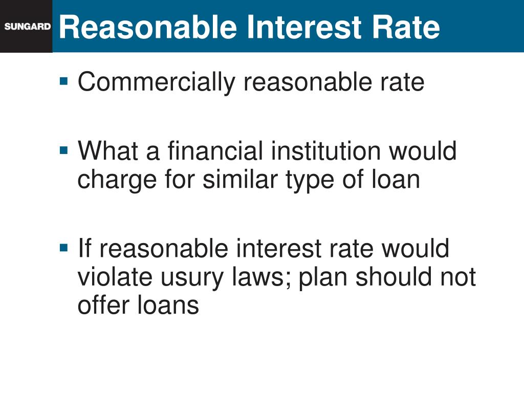 Reasonable Interest Rate