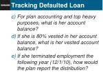 tracking defaulted loan