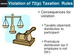 violation of 72 p taxation rules