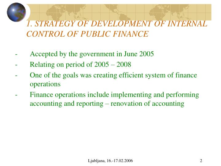 1 strategy of development of internal control of public finance