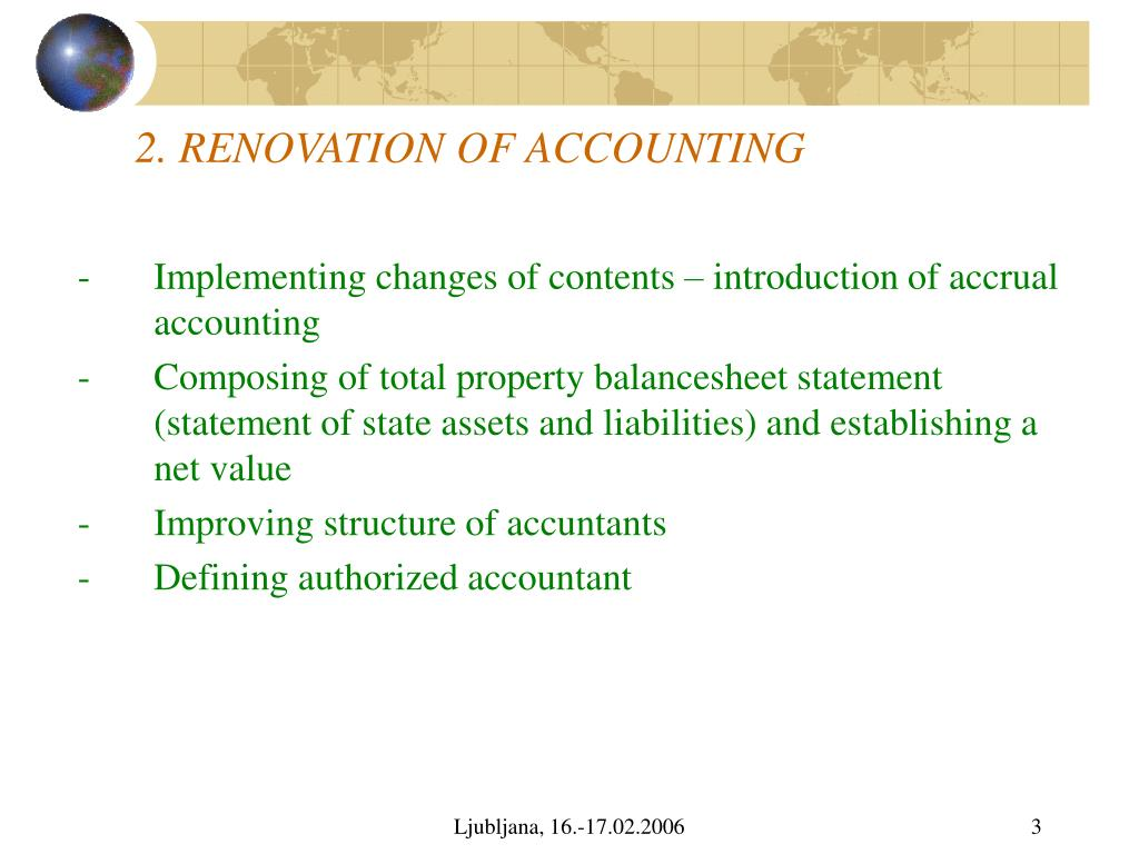 2. RENOVATION OF ACCOUNTING