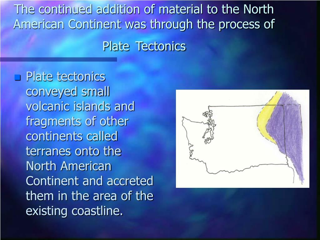 The continued addition of material to the North American Continent was through the process of Plate