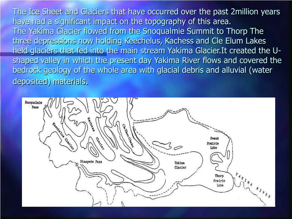 The Ice Sheet and Glaciers that have occurred over the past 2million years have had a significant impact on the topography of this area.
