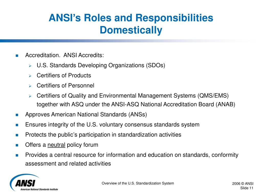 ANSI's Roles and Responsibilities Domestically