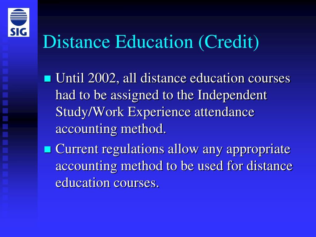 Distance Education (Credit)