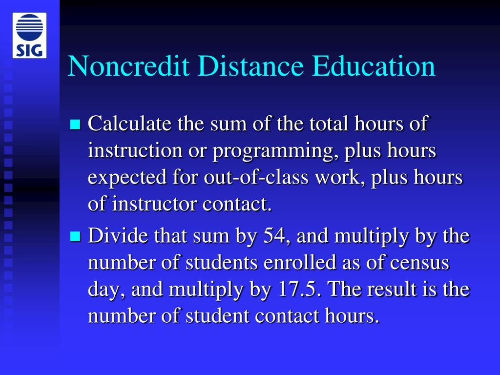 Noncredit Distance Education