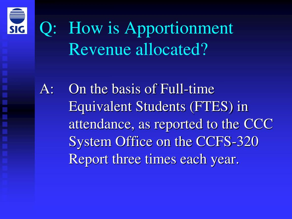 Q: How is Apportionment Revenue allocated?