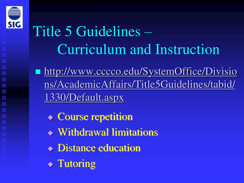 Title 5 Guidelines –