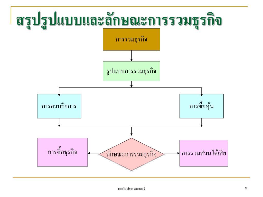 สรุปรูปแบบและลักษณะการรวมธุรกิจ