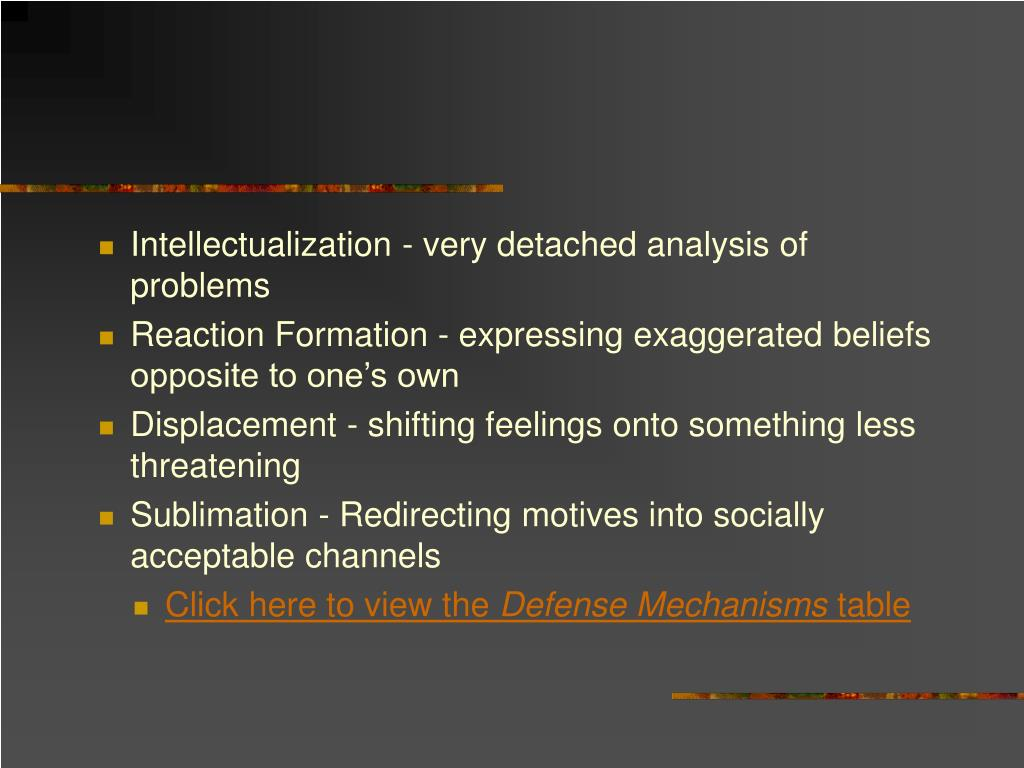Intellectualization - very detached analysis of problems