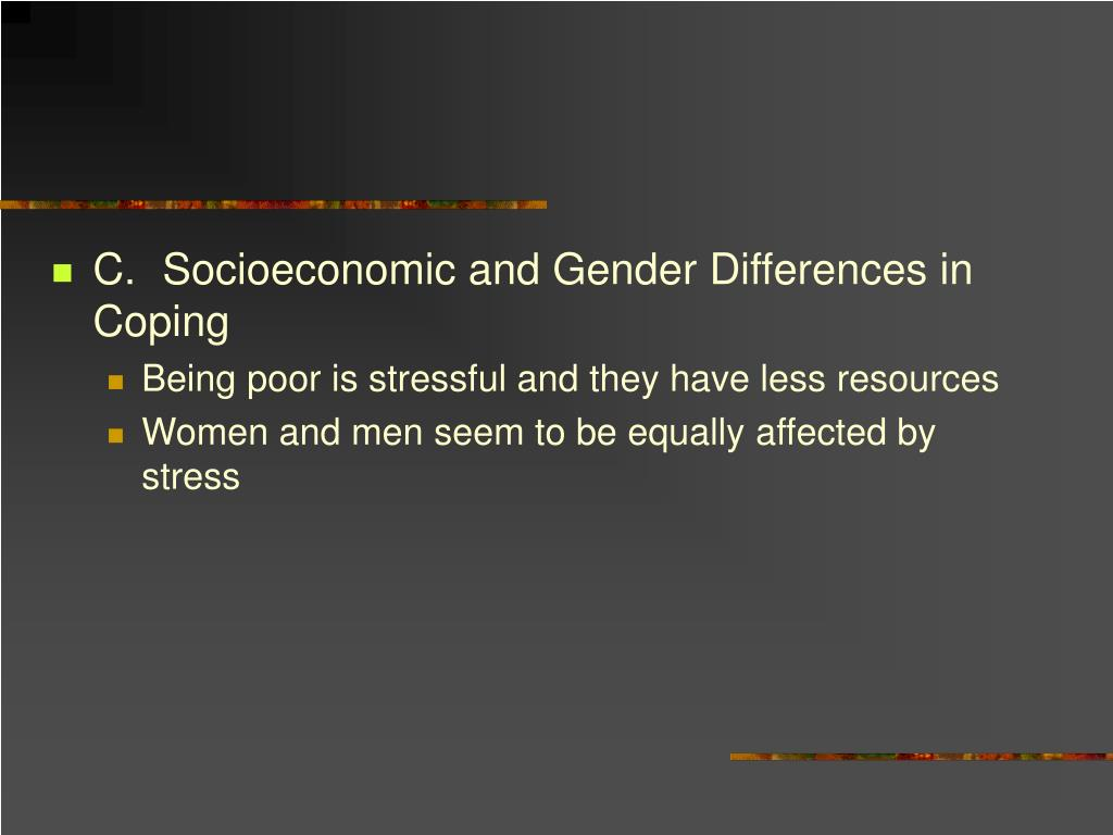 C.Socioeconomic and Gender Differences in Coping