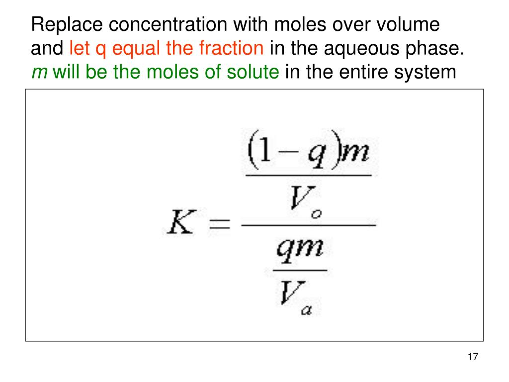 Replace concentration with moles over volume and