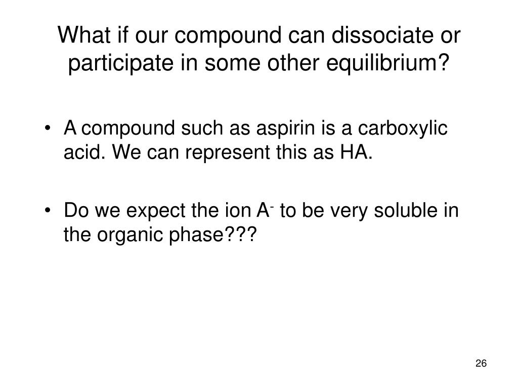 A compound such as aspirin is a carboxylic acid. We can represent this as HA.