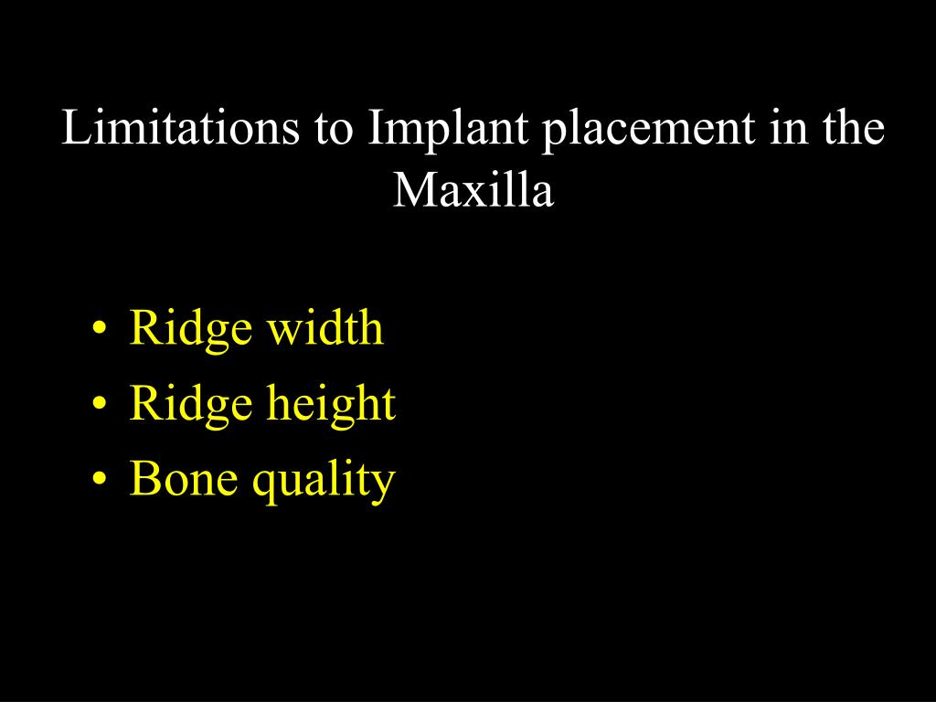 Limitations to Implant placement in the Maxilla