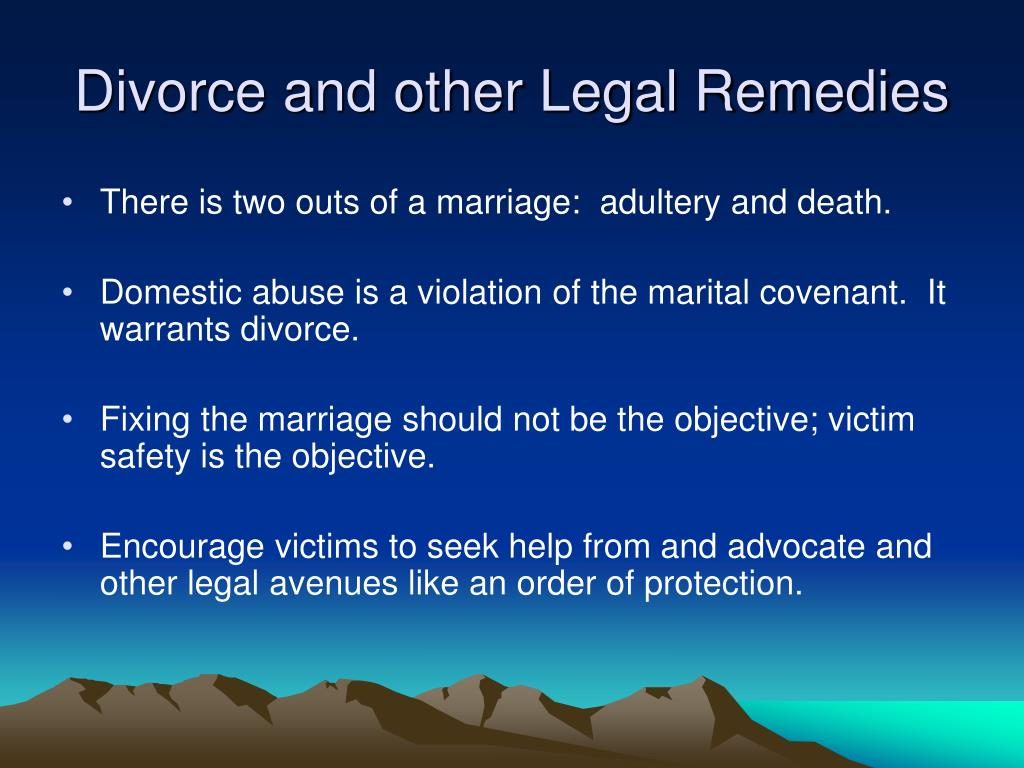 Divorce and other Legal Remedies