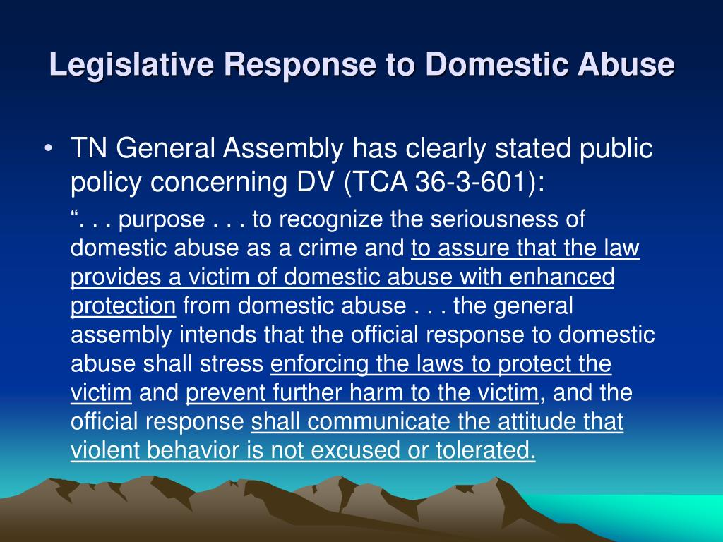 Legislative Response to Domestic Abuse
