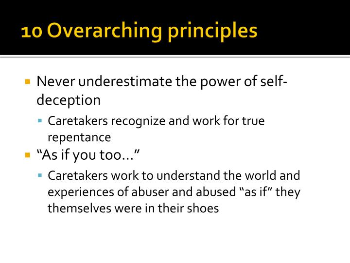10 Overarching principles