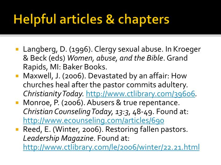 Helpful articles & chapters